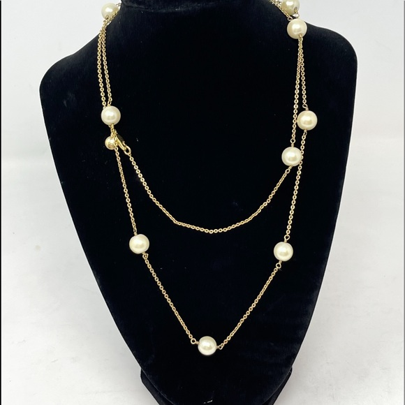 """J CREW JEWELRY Faux Pearl Gold Chain Necklace 36"""""""